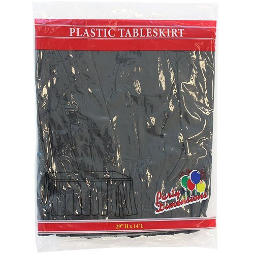 Plastic Table Skirts - 13 Colors- Pack of 2 Select Color: Black (Bar Rectangle Table)