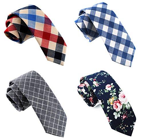 Narrow Slim Necktie (Skinny Cotton Neckties Slim Casual Tie 4PACK TG-004)