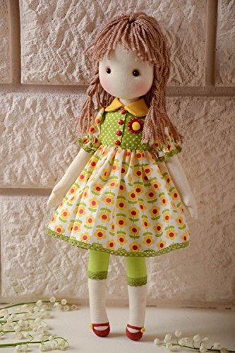 Handmade designer soft doll sewn of cotton fabric girl in floral dress gift ideas kids