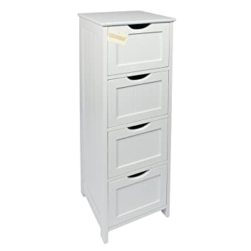 Woodluv 4-Drawer Floor Standing Bathroom Storage Cabinet Unit ...