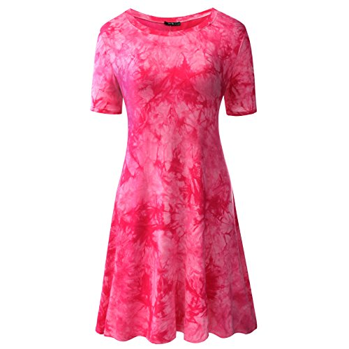 Zero City Women's Short Sleeve Casual Tie Dye Cotton Swing Tunic T-shirt Dresses Small Ze2010_pink ()