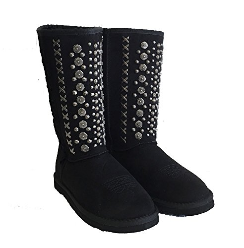 Montana West Winter Boots Antique Silver Floral Conchos Metal Stitches Black, 8M
