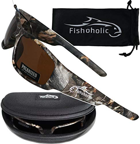 Fishoholic Polarized Fishing Sunglasses w Free Hard Case & Pouch UV400 100% UV Protection. Best Gift to Fish River Lake Bass Saltwater & Flyfishing (R) Trademark (Camo Amber)
