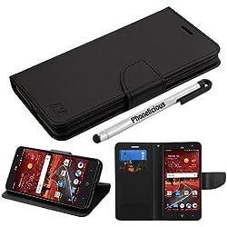 ZTE GRAND X4 Case, Phonelicious ZTE GRAND X4 Wallet PU Leather Case Premium Pouch ID Credit Card Cover Flip Folio Book Style with Money Slot +Pen (BLACK WALLET)