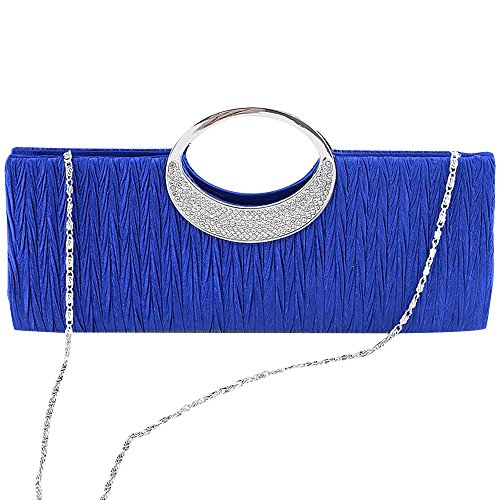 Wocharm New Ladies Crystal Diamante Purse Clutch Wedding Party Bridal Women Satin Pleated Evening Handbag (Royal Blue)
