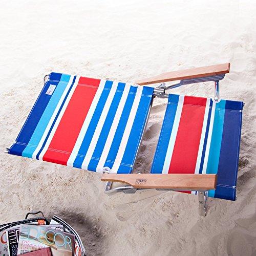 Rio 5-Position Beach Chair with FREE Clamp-On Umbrella - Americana Stripe