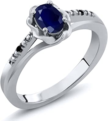 0.56 Ct Oval Blue Sapphire and White Diamond 925 Sterling Silver Women/'s Ring