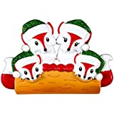 Fox Family Of 4 Personalized Christmas Tree Ornament