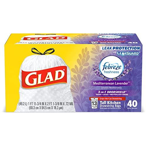 Glad Tall Kitchen Drawstring Trash Bags - OdorShield 13 Gallon White Trash Bag, Febreze Mediterranean Lavender - 40 Count