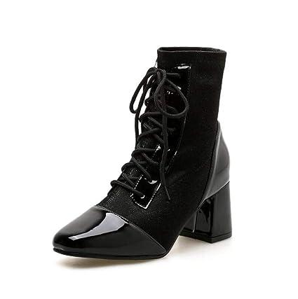 Shiney Botines De Tacón Alto para Mujer 2018 New Martin Boots Botín De Tacón Grueso con