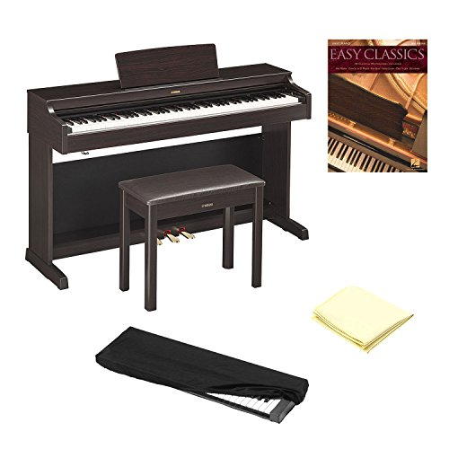 Yamaha YDP163R Rosewood 88 Weighted Keys Digital Piano keyboard Bundle with Matching Bench, Juliet Music Piano Dust Cover, Key Cover, Polish Cloth and Manuscript Book