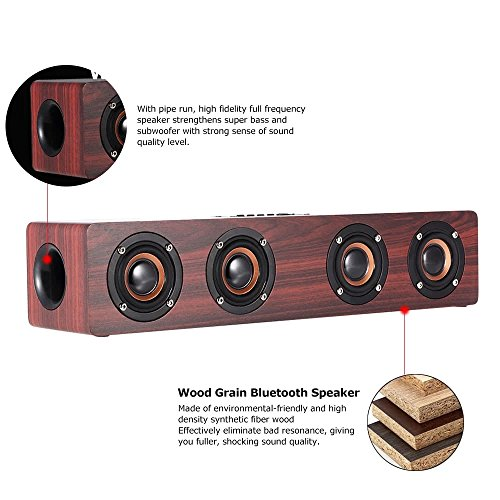 Price comparison product image Wireless Bluetooth Speakers,Businda TF Card AUX Subwoofer Portable Speaker for TV Home Theatre 3D Wood Sound Bar