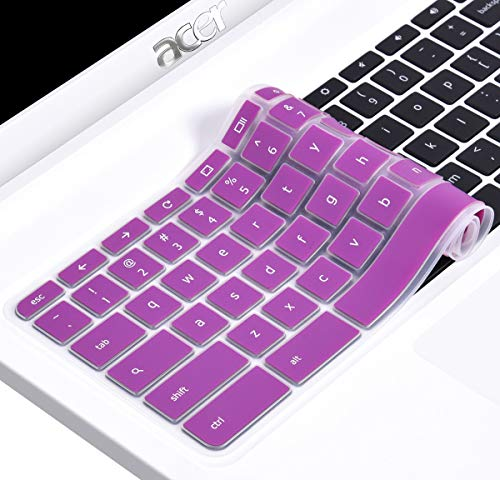 CaseBuy Keyboard Skin Cover Compatible11.6 Acer Chromebook 11 CB3-131 CB3-132 / Chromebook R 11 CB5-132T / 13.3 Chromebook R 13 CB5-312T (Purple)