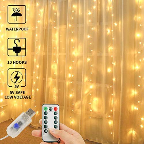 Juhefa Curtain Lights,USB Powered Fairy Lights String,IP64 Waterproof & 8 Modes Twinkle Lights for Parties, Bedroom Wedding,Valentines' Day Wall Decorations (300 LEDs,9.8x9.8Ft, Warm White)]()