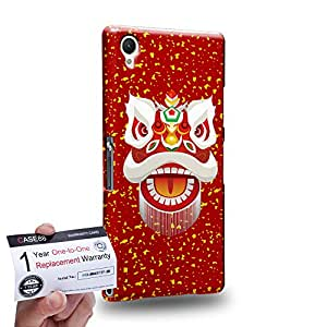 Case88 [Sony Xperia Z1] 3D Printed Snap-on Hard Case & Warranty Card - Art Chinese Southern Lion The Liu Bei Lion