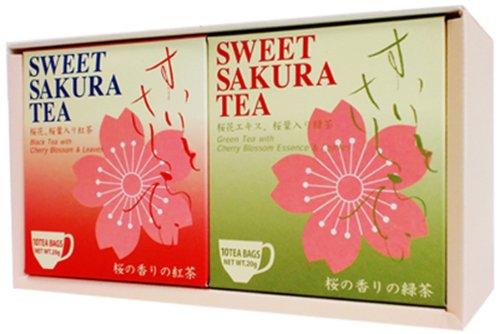 Sweet cherry tea (tea bag 2g×10P) 2box Sakura green Tea & Black tea - Sweet Cherry Tea