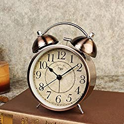 LambTown Vintage Twin Bell Alarm Clock Old Fashioned Desk Clocks Silent Non Ticking for Bedroom Home Decoration - Bronze