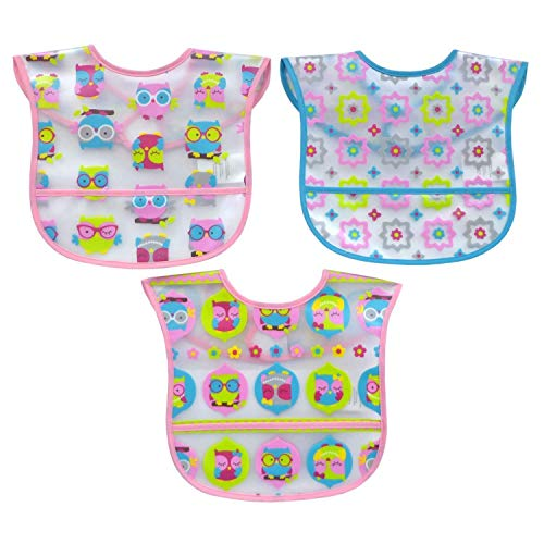 Koala Baby Water Resistant PEVA 2 Layer Printed Translucent EZ Wipe Toddler Bib with Crumbcatcher - Owls & Flowers - Pink/Yellow/Blue - 3 Pack