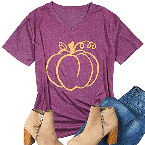 Womens Pumpkin Print Funny Graphic T-Shirt Tee V-Neck Short Sleeve Tops Blouse Size M -