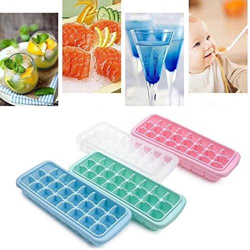 ABLIN 4PCS 24 Cube Silicone Ice Cubes Jelly Chocolate Fruit Cake Cube Mold with Lid Tray Pudding Ice Cream Frozen Mold Kitchen Ice Cream Tool