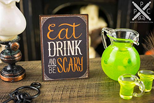 Olga212Patrick Wood Sign Miniature Eat Drink and Be Scary Decorative Halloween Sign