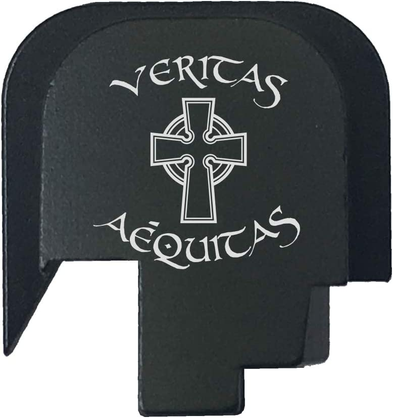 BASTION Laser Engraved Rear Cover Slide Back Plate for Smith & Wesson M&P 45 Shield SUBCOMPACT ONLY - Veritas Aequitas Celtic Cross 51xkE8-q2B5L