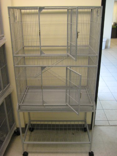 New Large Wrought Iron Bird Parrot Cage Cockatiel Conure Large 30″x18″x62″ With Stand On Wheels *Silver Vein*, My Pet Supplies