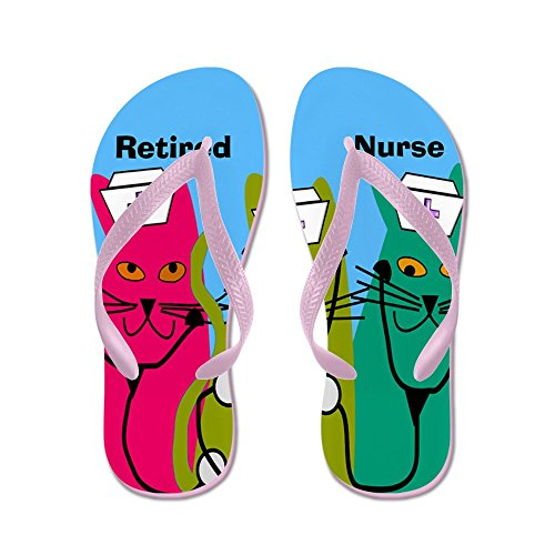 Cafepress Gepensioneerde Verpleegster Ff 7 - Flip Flops, Grappige String Sandalen, Strand Sandalen Roze