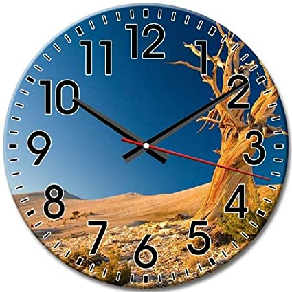 Quiet Sweep Design Round Wall Clock Desert Arabic Numbers Quiet Frameless  10 Inch / 25 Cm
