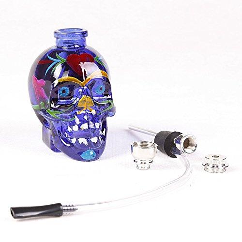 "5.5"" Mini Glass Shisha Hookah Multi-functional Holder With Hose Cool Skull Model Pipe Larruping"
