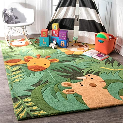 nuLOOM King Of The Jungle Wool Rug, 3 6 X 5 6 , Green, 6 6