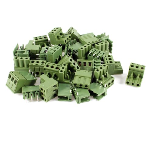 uxcell 20 Pcs AC 300V 10A 5.08mm Pitch 3 Pin Screw Pluggable Terminal Block (3 Pin Terminal Block)