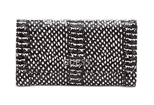 (Guess Women's Delaney Black/White Multi Slim Clutch Tri-Fold Wallet)