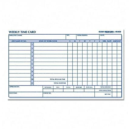 Time Card Pads For Weekly Time 4 1 4 X7 Manila Qty
