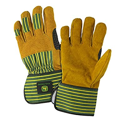 John Deere JD00005 Premium Split Cowhide Leather Palm Work Gloves, 1 Pair