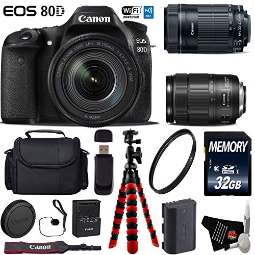 Canon EOS 80D DSLR Camera with 18-135mm is STM Lens & 55-250mm is STM Lens + Flexible Tripod + UV Protection Filter + Professional Case + Card Reader - International Version -  6Ave