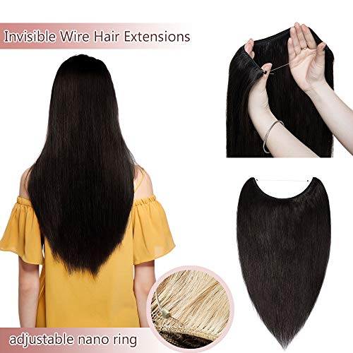 Hidden Invisible Crown Human Hair Extensions One Piece Secret Miracle Wire In Hairpiece With Transparent Fish Line Headband No Clips No Tape For Women #1B Natural Black 22'' 75g