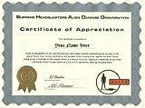 SHADO Certificate of Appreciation - UFO Television Series