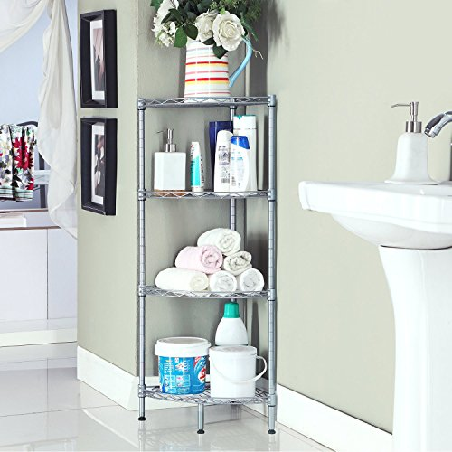 Homfa 4-Tire Wire Corner Storage Shelves Free Standing Bathroom Corner Shelf Corner Rack Display Shelf Kitchen Storage Wire Shelving, Grey