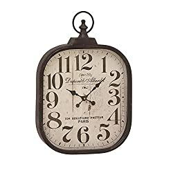 Deco 79 52560 Metal Glass Wall Clock, 18 x 26