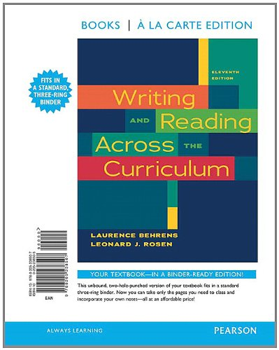 Writing and Reading Across the Curriculum, Books a la Carte Edition (11th Edition)
