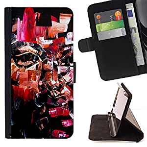 GIFT CHOICE / Billetera de cuero Estuche protector Cáscara Funda Caja de la carpeta Cubierta Caso / Wallet Case for Apple Iphone 4 / 4S // Cool Mosaic Portrait Art //
