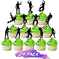 Cupcake Toppers Dance Floss Cake Topper for Birthday Party Supplies Cake Decorating kit Cake Toppers Video Game Party Supplies favors 24pieces