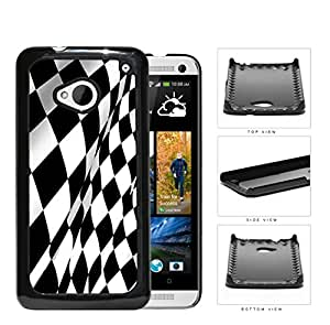 Black And White Checkered Racing Flag Hard Plastic Snap On Cell Phone Case HTC One M7 by runtopwell