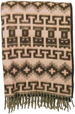 Fair Trade Brushed Alpaca Brown Fine Blanket Reversible Inca Pattern 00113