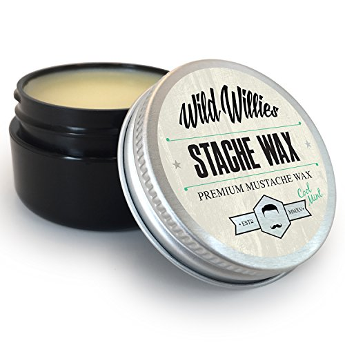 Wild Willie's Mustache Wax Cool Mint-The Only Hard Wax with 7 Natural Organic Ingredients for All Day Hold While Treating Your Mustache at the Same Time. Handmade in the USA. .5 Ounce.