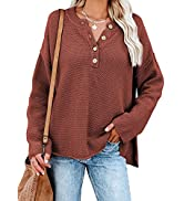 Dokotoo Womens Button V Neck Sweaters Long Sleeve Cable Knit Pullover Sweater Tops