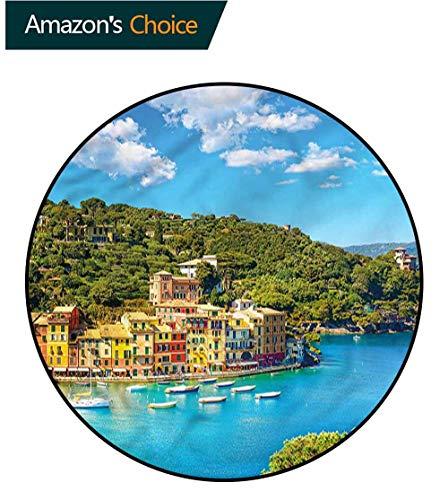 RUGSMAT Italy Modern Machine Round Bath Mat,Portofino Panoramic View Floor Mat Home Decor Diameter-35