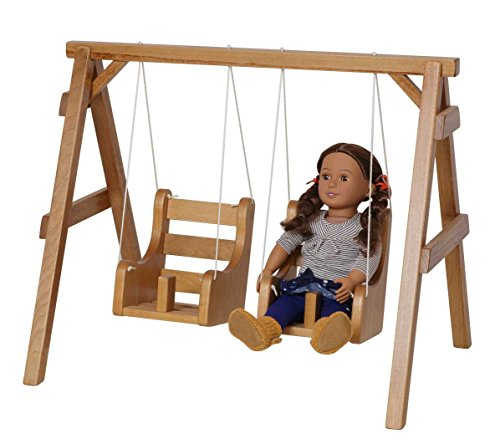 Double Swing Set 12 Inch - 18 Inch Dolls USA Handmade Furniture, Natural Finish by Clip Clop