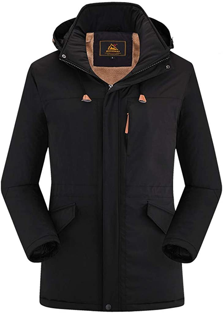 Snowmolle Mens Winter Insulated Sherpa Lined Parka Jacket Mid-Long Full Zip Up Coat Outwear Windbreaker Slim
